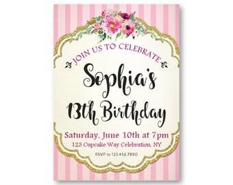 16th Birthday Invitations Girls Sweet 16 Birthday Party