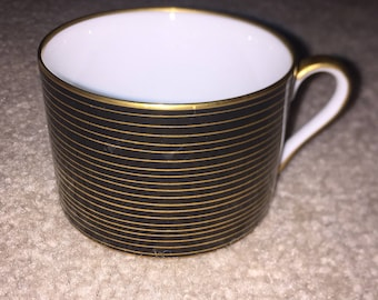 "Vintage Fitz & Floyd Collectible Black ""Rondelle"" Flat Cup Set Of Two With Gold Rim And Handle"