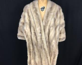 1950s 50s Vintage Silver Mink Fur Stole