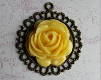 Yellow roses etsy rose pendant yellow rose pendant rose jewellery rose necklace yellow pendant mozeypictures Gallery