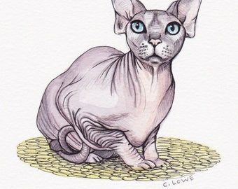 Sphynx Cat Original Painting