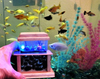 1:12 Dollhouse Stone base aquarium, miniature aqaurium, miniature fish tank, LED aquarium, toy fish tank, small fish tank