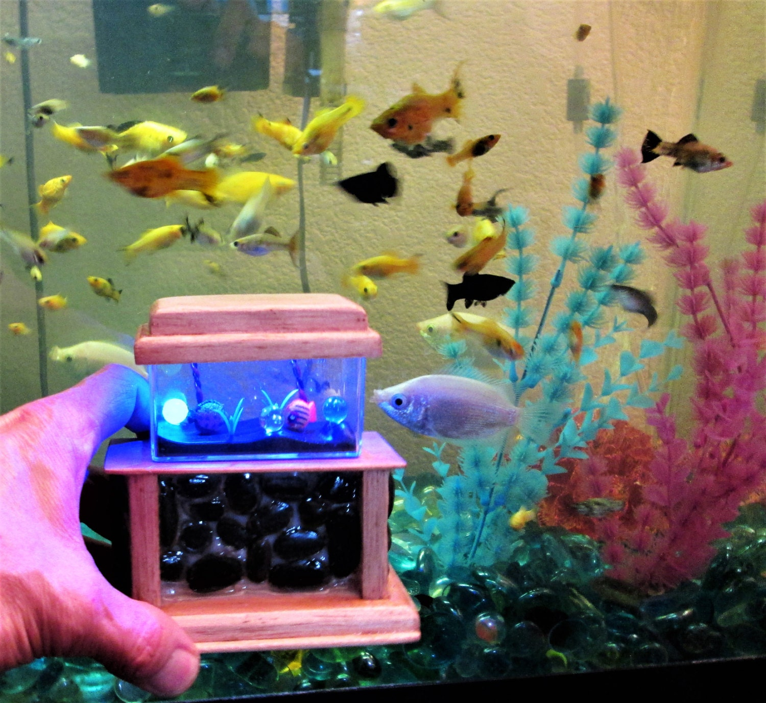 Aquarium fish tank cyprus - 1 12 Dollhouse Stone Base Aquarium Miniature Aqaurium Miniature Fish Tank Led Aquarium Toy Fish Tank Small Fish Tank