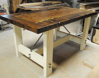Authentic Reclaimed Industrial Farm Table  - Stunning!