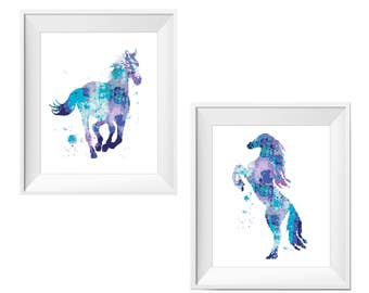 Horse Cross Stitch Pattern counted cross stitch Horse Watercolor Rainbow cross stitch Blue Pink Modern Embroidery Cute cross stitch Animals