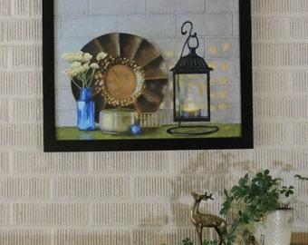 """Still Life Painting Original Pastel Wall Art """"The Mantel"""""""
