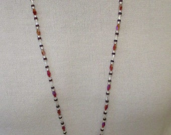 Dark red crystal long necklace