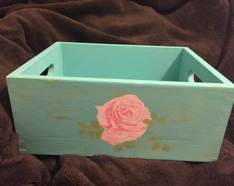 Hand painted shabby chic vintage rose box