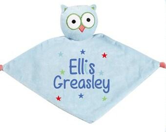 Personalised Owl Cubbie Baby Comforter/Blankie, Blue Owl Baby Comforter/Blankie
