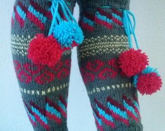 Leg Warmers, Knit Leg Warmers, Women's Leg Warmers,Knitted Leg Warmers,Striped Leg Warmers, Sporty Leg Warmers, Autumn Colors