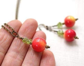 Red Apple Necklace or Earrings Easter Fun Jewelry Set Teacher Gifts Snow White Summer Nature Garden Green Gemstone Raw Crystal Necklace