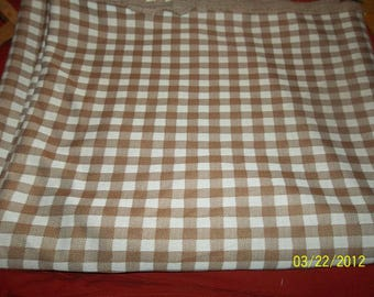 vintage fabric polyester brown checked 4 1/2 yds