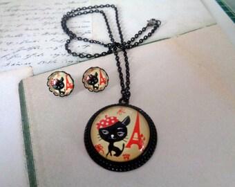 """Jewelry set """"Cat in Paris"""""""