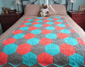 Crocheted Afghan - Hexagon Pattern