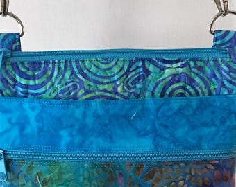 Quilted Batik cross-body handbag/purse with adjustable straps