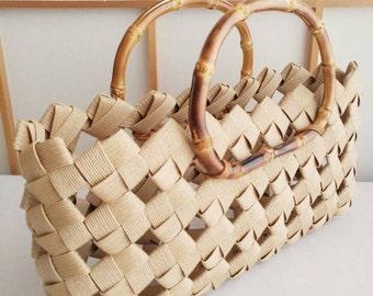 Beige handbag, handbag, minimal bag, summer bag, kimono bag, Japanese, bamboo, eco friendly, gift, birthday