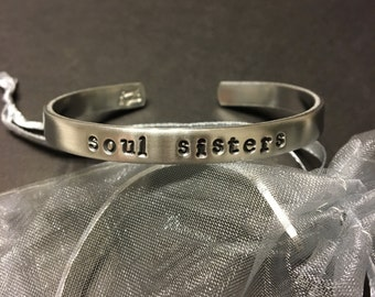 soul sisters hand stamped metal cuff