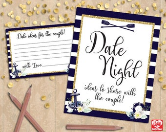 Date Night Ideas Sign & Card | Date Night Cards Sign | Printable Bridal Shower, Nautical Wedding Sign, Nautical Shower Instant Download, JPG
