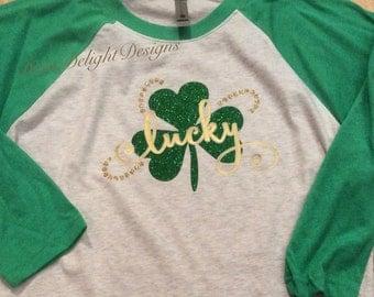 Lucky Shamrock Raglan St. Patrick's Day Shirt