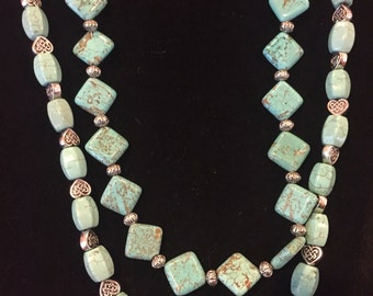 Double atrand turquoise & silver necklace.