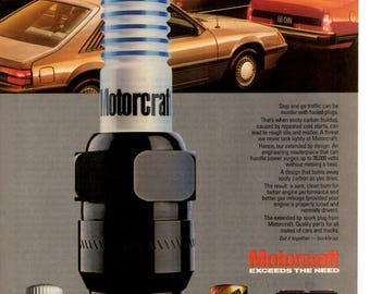 1985 Motorcraft spark plugs vintage magazine ad shop wall decor (1703)