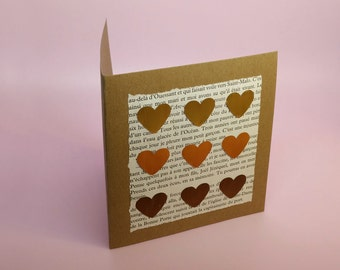 Handmade heart card with recycled nespresso capsules