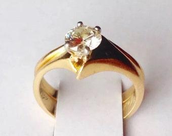 0.55ct High quality natural diamond 18k yellow gold wedding set size 4.25