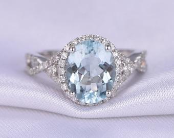 Big Oval Cut Aquamarine Ring 3ct Aquamarine Engagement Ring AA Aquamarine Promise Ring Diamond Matching band,Diamond Ring 14K White Gold