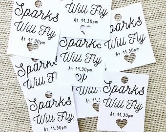 Wedding tags, Sparks will fly, wedding sparkler tags, sparkler send off, personalised tags