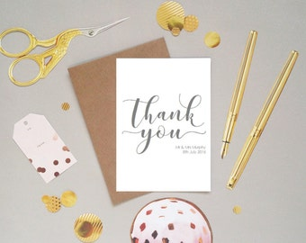Wedding thank you cards from the bride and groom, new Mr and Mrs, hand lettered modern calligraphy font, customised, personalised, UK