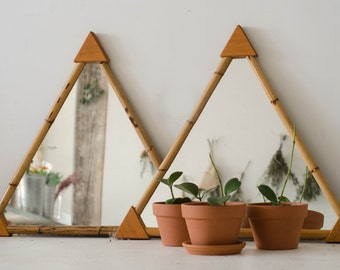 Vintage Bamboo Triangle Mirror.