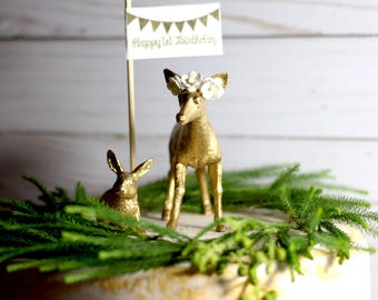 Woodland Birthday  Cake Topper Animal Cake Topper Deer Cake Topper First Birthday Girl 1st Birthday