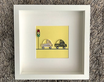 Framed Paper Quilled Cars