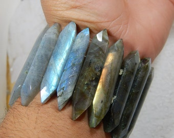 Gemstone Labradorite Smooth Bracelet Marquise Shape 10x47 To 11x42 mm Approx Good Quality