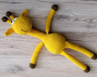 Giraffe  stuffed animal soft toy yellow giraffe giraffe baby toy Crochet giraffe Knit giraffe toy giraffe baby shower
