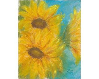 Sunflowers in Pastel  - original artwork