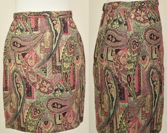 Vintage 60s metallic/lurex/lame mini pencil skirt in paisley pattern size 8