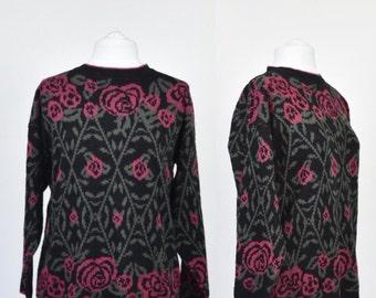 VINTAGE 80s rose and thorn design jumper/sweater in dusky black/pink/olive size medium