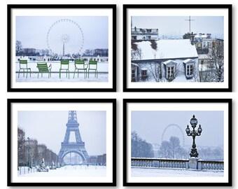 Paris photography, Color photography, Paris photo, Paris under the snow, Eiffel Tower print, winter in Paris, Paris set of prints, set of 4