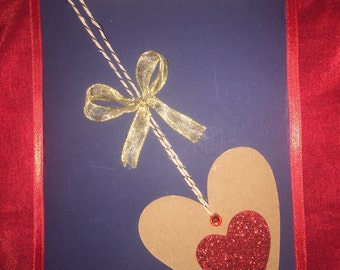 Beautiful handmade card. Contrast of light and dark colors with ribbon for accent