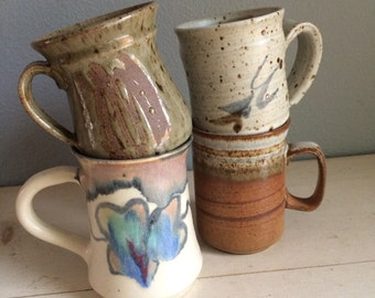 vintage, pottery, hand made mugs, collection of four mugs, earth tones