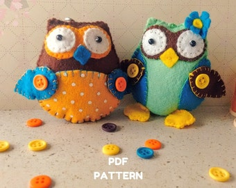Felt Pattern-Felt-Felt Owls-Owl sewing pattern-Felt PDF Pattern-Owl Pattern-2 Owls-Owl ornament