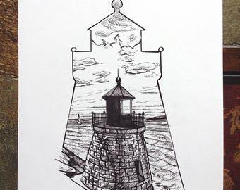 Vintage Castle Hill Lighthouse Newport Rhode Island