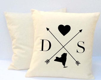 State Pillow, Personalized Pillow, Initial Pillow, Couples Pillow, Housewarming Gift,  Wedding Pillow,  Pillow Covers