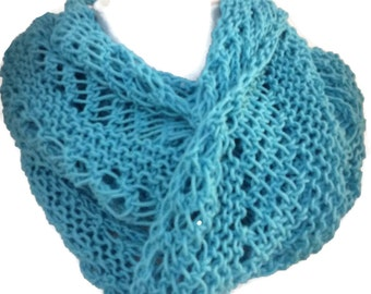 Turquoise scarf, Teal circle scarf, Turquoise-infinity scarf, infinity Scarf, Lacy Scarf, Women's fashion, Spring Scarf, Summer Scarf