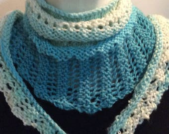 Turquoise scarf, Triangle scarf, Knit scarf, Long scarf, Women's Scarves, Gift for girlfriend, Summer scarf, Gift for her, Women's fashion