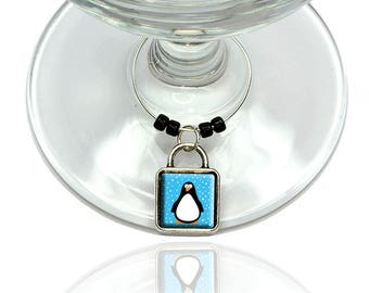 Penguin Wine Glass Drink Marker Charm Ring