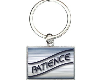 Patience Blue Waves Clouds Rectangle Keychain Key Ring