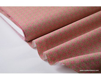 Tissu popeline coton imprimé dessin fleurs étoiles kaki rose