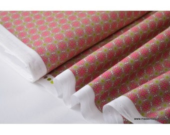 Drawing curved flowers khaki rose printed cotton Poplin fabric